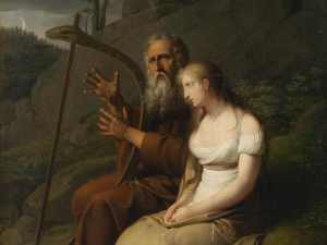 Ossian plays a harp and sings of Fingal in this 1810 painting by Johann Peter Krafft.